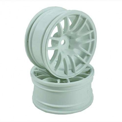 8326w6 - White 7 Y-Spoke Wheels 1 pair 1/10 Car, 9mm Offset