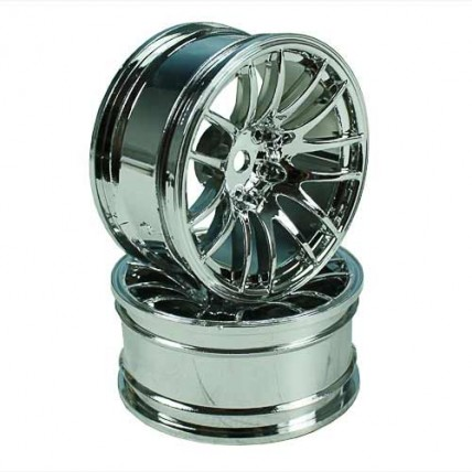 8326s6 - Silver 7 Y-Spoke Wheels 1 pair 1/10 Car, 6mm Offset
