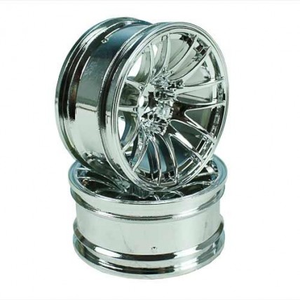8326s9 - Silver 7 Y-Spoke Wheels 1 pair 1/10 Car, 9mm Offset
