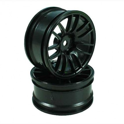 8326k6 - Black 7 Y-Spoke Wheels 1 pair 1/10 Car, 6mm Offset