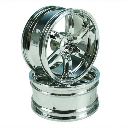8318S6 - Silver 6 Spoke Wheels 1 pair1/10 Car, 6mm Offset