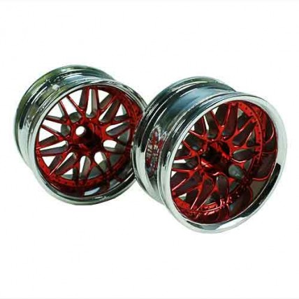 8309RSC - Red/Silver 10 Y-Spoke Wheels 1 pair 1/10 Car, 12mm Offset