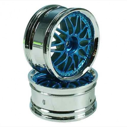 8309BS4 - Blue/Silver 10 Y-Spoke Wheels 1 pair 1/10 Car, 4mm Offset