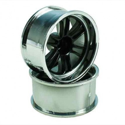 8308KSC - Black/Silver 6 Dual Spoke Wheels 1 pair1/10 Car, 12mm Offset