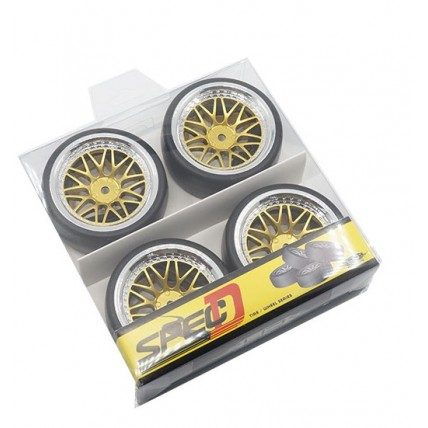 Yeah Racing WL-0099 Spec D LS Wheel Offset +6 Gold Silver w/Tire 4pcs For 1/10 Drift