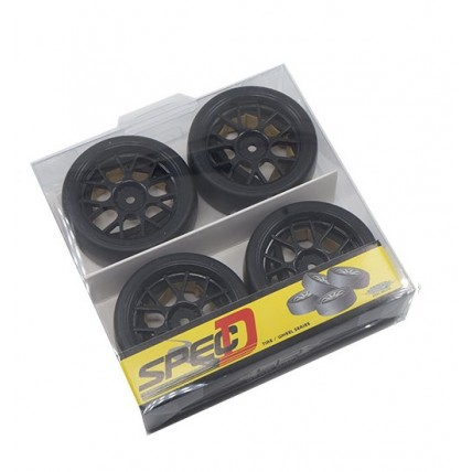 Yeah Racing WL-0100 Spec D CS Wheel Offset +3 Black w/Tire 4pcs For 1/10 Drift