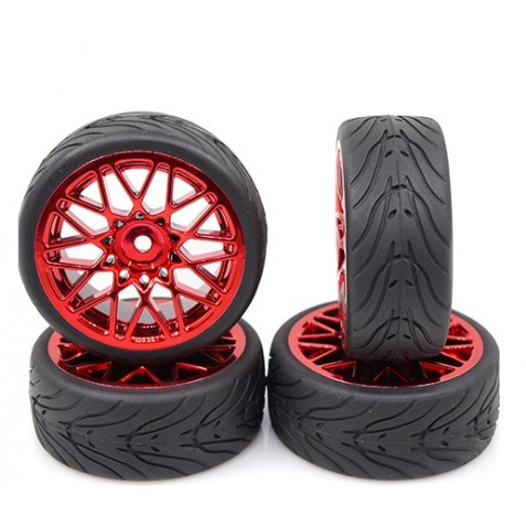 Yeah Racing WL-0108Spec T LS Wheel Offset 3 Red w/Tire 4pcs For 1/10 Touring