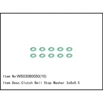 WS03080050(10)- Clutch Bell Stop Washer 3x8x0.5