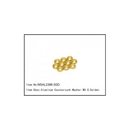 WSAL2396-3GD- Aluminum Countersunk Washer M3.0,Golden